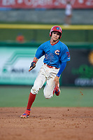 Clearwater Threshers Simon Muzziotti (12) running the bases during a Florida State League game against the Tampa Tarpons on April 18, 2019 at Spectrum Field in Clearwater, Florida.  Clearwater defeated Tampa 10-3.  (Mike Janes/Four Seam Images)