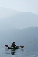 Kayaking on Slide Lake in the Gros Ventre mountain range, Wyoming