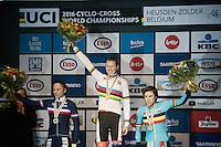 Elite Women's podium:<br /> 1/ Thalita Dejong (NLD)<br /> 2/ Caroline Mani (FRA)<br /> 3/ Sanne Cant (BEL)<br /> <br /> UCI 2016 cyclocross World Championships<br /> <br /> Elite Women's race<br /> UCI 2016 cyclocross World Championships