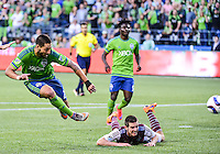Seattle, Washington - May 27, 2015: The Seattle Sounders FC defeated the Colorado Rapids 1-0 in Major League Soccer action on the Xbox Pitch at CenturyLink Field.