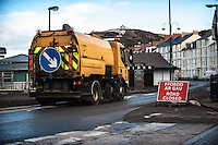 Aberystwyth, West Wales, UK. Thursday 11th February 2016<br /> A mechanical sweeper clears debris from Aberystwyth promenade as work continues on the the clean up after Storm Imogen battered the west Wales town.