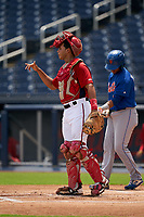 GCL Nationals catcher Geraldi Diaz (12) during a Gulf Coast League game against the GCL Mets on August 12, 2019 at FITTEAM Ballpark of the Palm Beaches in Palm Beach, Florida.  GCL Nationals defeated the GCL Mets 7-3.  (Mike Janes/Four Seam Images)