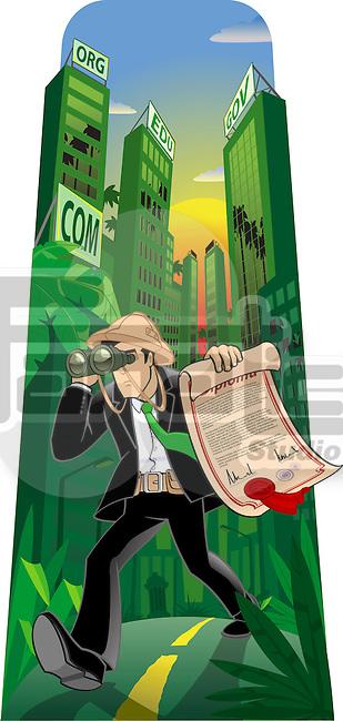 Man searching job with binoculars