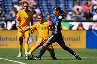 San Diego, CA - Sunday July 30, 2017: Katrina Gorry, Yui Hasegawa during a 2017 Tournament of Nations match between the women's national teams of the Australia (AUS) and Japan (JAP) at Qualcomm Stadium.