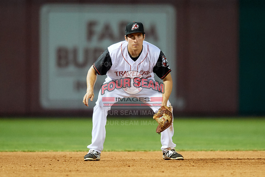 Arkansas Travelers third baseman Seth Mejias-Brean (28) during a game against the Frisco RoughRiders on May 26, 2017 at Dickey-Stephens Park in Little Rock, Arkansas.  Arkansas defeated Frisco 4-2.  (Mike Janes/Four Seam Images)