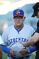 Stockton Ports Manager Rick Magnante (7) exchanges lineups before a game against the Rancho Cucamonga Quakes at LoanMart Field on August 15, 2017 in Rancho Cucamonga California. Rancho Cucamonga defeated Stockton, 11-9. (Larry Goren/Four Seam Images)