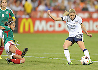 Morgan Brian (25) of the USWNT goes against Bianca Sierra (3) of Mexico. The USWNT defeated Mexico 7-0 during an international friendly, at RFK Stadium, Tuesday September 3, 2013.