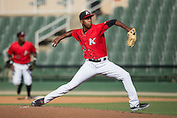 Kannapolis Intimidators starting pitcher Yency Almonte (17) in action against the Asheville Tourists at Intimidators Stadium on June 28, 2015 in Kannapolis, North Carolina.  The Tourists defeated the Intimidators 6-4.  (Brian Westerholt/Four Seam Images)