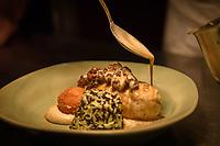 "Melbourne, July 13, 2018 - The dish ""Chicken Supreme, celeriac purée, Pojarsky, morel mushrooms, jus crème"" at the Pommery Champagne Dinner at Philippe Restaurant in Melbourne, Australia. Photo Sydney Low"