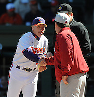 Clemson head coach Jack Leggett (7), left, shakes hands with USC head coach Ray Tanner (1) before a game between the Clemson Tigers and South Carolina Gamecocks Saturday, March 6, 2010, at Fluor Field at the West End in Greenville, S.C. Photo by: Tom Priddy/Four Seam Images