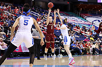 GREENSBORO, NC - MARCH 06: Cameron Swarz #1 of Boston College shoots the ball during a game between Boston College and Duke at Greensboro Coliseum on March 06, 2020 in Greensboro, North Carolina.