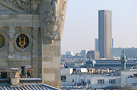The roof of the Garnier Opera in Paris, with the Montparnasse tower in the distance, is home to the seven hives of Jean Poucton.