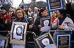 Augusto Pinochet Extradite dictator back to Chile. Anti Pinochet demonstration Parliament square London England 1999 1990s UK