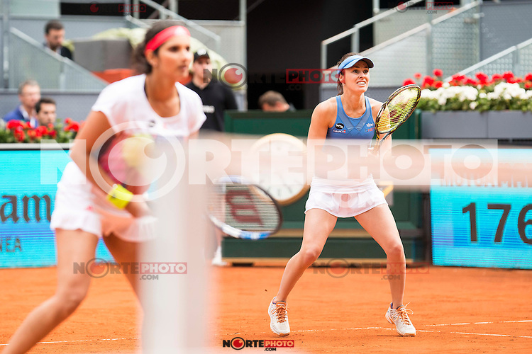 Indian Sania Mirza and Swiss Martina Hingis during Doubles Woman Final Mutua Madrid Open Tennis 2016 in Madrid, May 07, 2016. (ALTERPHOTOS/BorjaB.Hojas) /NortePhoto.com