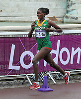 LONDON - AUGUST 05: Tiki Gelana wins Gold for Ethiopia in the Women's Olympic Marathon, Buckingham Palace, London, UK. August 05, 2012. (Photo by Richard Goldschmidt) /NortePhoto.com<br />