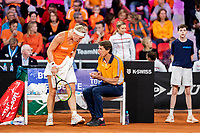 The Hague, The Netherlands, Februari 7, 2020,    Sportcampus, FedCup  Netherlands -  Balarus, Seccond match on friday:  Kiki Bertens (NED) on the Dutch bench with Captai Paul Haarhuis<br /> Photo: Tennisimages/Henk Koster