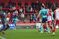 Joseph Anang of Stevenage FC makes a great save from Alex Hartridge of Exeter City during Stevenage vs Exeter City, Sky Bet EFL League 2 Football at the Lamex Stadium on 9th October 2021