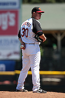 Rochester Red Wings relief pitcher Jake Stevens #30 delivers a pitch during a game against the Toledo Mudhens at Frontier Field on June 2, 2011 in Rochester, New York.  Rochester defeated Toledo 8-0.  Photo By Mike Janes/Four Seam Images