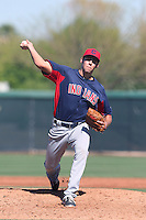 Ben Heller #44 of the Cleveland Indians pitches during a Minor League Spring Training Game against the Los Angeles Dodgers at the Los Angeles Dodgers Spring Training Complex on March 22, 2014 in Glendale, Arizona. (Larry Goren/Four Seam Images)