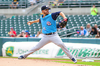 Colorado Springs Sky Sox pitcher Bubba Derby (11) delivers a pitch during a Pacific Coast League game against the Iowa Cubs on June 23, 2018 at Principal Park in Des Moines, Iowa. Colorado Springs defeated Iowa 4-2. (Brad Krause/Four Seam Images)