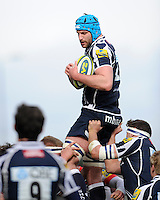 20130310 Copyright onEdition 2013©.Free for editorial use image, please credit: onEdition..Fraser McKenzie of Sale Sharks secures the lineout ball during the LV= Cup semi final match between Sale Sharks and Saracens at the Salford City Stadium on Sunday 10th March 2013 (Photo by Rob Munro)..For press contacts contact: Sam Feasey at brandRapport on M: +44 (0)7717 757114 E: SFeasey@brand-rapport.com..If you require a higher resolution image or you have any other onEdition photographic enquiries, please contact onEdition on 0845 900 2 900 or email info@onEdition.com.This image is copyright onEdition 2013©..This image has been supplied by onEdition and must be credited onEdition. The author is asserting his full Moral rights in relation to the publication of this image. Rights for onward transmission of any image or file is not granted or implied. Changing or deleting Copyright information is illegal as specified in the Copyright, Design and Patents Act 1988. If you are in any way unsure of your right to publish this image please contact onEdition on 0845 900 2 900 or email info@onEdition.com