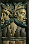 Janiform Heads. Sancreed Church, Cornwall, England.  Rood screen carving.  <br />  MYSTERIOUS  Britain published by Orion