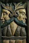 Janiform Heads. Sancreed Church, Cornwall, England. Rood screen carving.