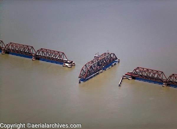 aerial photograph of swing bridge for a rail crossing, California