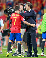 Spain's coach Julen Lopetegui (r) with David Villa during FIFA World Cup 2018 Qualifying Round match. September 2,2017.(ALTERPHOTOS/Acero)