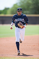 AZL Padres 1 center fielder Jawuan Harris (13) jogs off the field between innings of an Arizona League game against the AZL Royals at Peoria Sports Complex on July 4, 2018 in Peoria, Arizona. The AZL Royals defeated the AZL Padres 1 5-4. (Zachary Lucy/Four Seam Images)