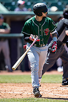 Great Lakes Loons outfielder Andy Pages (44) flips the bat after hitting a home run on May 30, 2021 against the Lansing Lugnuts at Jackson Field in Lansing, Michigan. (Andrew Woolley/Four Seam Images)