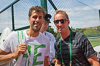 England, London, June 29, 2015, Tennis, Wimbledon, practisecourts, Robin Haase (NED) and his coach Mark de Jong<br /> Photo: Tennisimages/Henk Koster