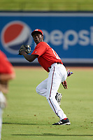 GCL Nationals right fielder Eric Senior (10) during warmups before the first game of a doubleheader against the GCL Mets on July 22, 2017 at The Ballpark of the Palm Beaches in Palm Beach, Florida.  GCL Mets defeated the GCL Nationals 1-0 in a seven inning game that originally started on July 17th.  (Mike Janes/Four Seam Images)