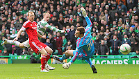 01.03.2015.  Glasgow, Scotland. Scottish Premier League. Celtic versus Aberdeen. Leigh Griffiths puts the ball in the net but is ruled out for offside