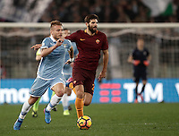 Calcio, Serie A: Roma, stadio Olimpico, 1marzo 2017.<br /> Lazio's Ciro Immobile (l) in action with Roma's Federico Fazio (r) during the Italian TIM Cup 1st leg semifinal football match between Lazio and AS Roma at Rome's Olympic stadium, on March 1, 2017.<br /> UPDATE IMAGES PRESS/Isabella Bonotto