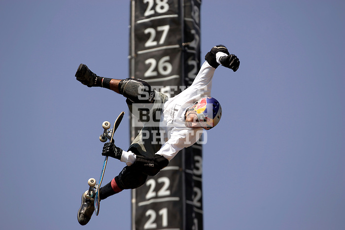 Buster Halterman competes in the Skateboard Big Air competition during X-Games 12 in Los Angeles, California on August 5, 2006.