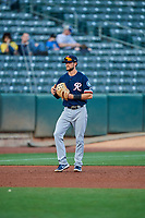 Jack Reinheimer (7) of the Tacoma Rainiers during the game against the Salt Lake Bees at Smith's Ballpark on May 13, 2021 in Salt Lake City, Utah. The Rainiers defeated the Bees 15-5. (Stephen Smith/Four Seam Images)