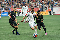 FOXBOROUGH, MA - AUGUST 4: Carles Gil #22 of New England Revolution advances towards the Los Angeles FC goal during a game between Los Angeles FC and New England Revolution at Gillette Stadium on August 3, 2019 in Foxborough, Massachusetts.