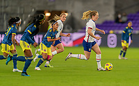 ORLANDO, FL - JANUARY 18: Samantha Mewis #3 of the USWNT dribbles during a game between Colombia and USWNT at Exploria Stadium on January 18, 2021 in Orlando, Florida.