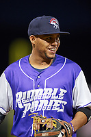 Binghamton Rumble Ponies shortstop Gustavo Nunez (10) during a game against the Akron RubberDucks on May 12, 2017 at NYSEG Stadium in Binghamton, New York.  Akron defeated Binghamton 5-1.  (Mike Janes/Four Seam Images)