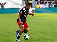 WASHINGTON, DC - MARCH 07: Edison Flores #10 of DC United on the attack during a game between Inter Miami CF and D.C. United at Audi Field on March 07, 2020 in Washington, DC.