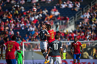 Orlando, Florida - Saturday, June 04, 2016: Paraguayan defender Jorge Benitez (7) and Costa Rican defender Oscar Duarte (6) battle for a header during a Group A Copa America Centenario match between Costa Rica and Paraguay at Camping World Stadium.