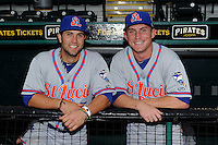 St. Lucie Mets shortstop Rylan Sandoval #4 and second baseman Robbie Shields #4 before a game against the Bradenton Marauders on April 12, 2013 at McKechnie Field in Bradenton, Florida.  St. Lucie defeated Bradenton 6-5 in 12 innings.  (Mike Janes/Four Seam Images)