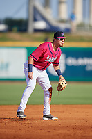 Pensacola Blue Wahoos third baseman Ryan Costello (18) during a Southern League game against the Mobile BayBears on July 25, 2019 at Hank Aaron Stadium in Pensacola, Florida.  Pensacola defeated Mobile 2-1 in the first game of a doubleheader.  (Mike Janes/Four Seam Images)