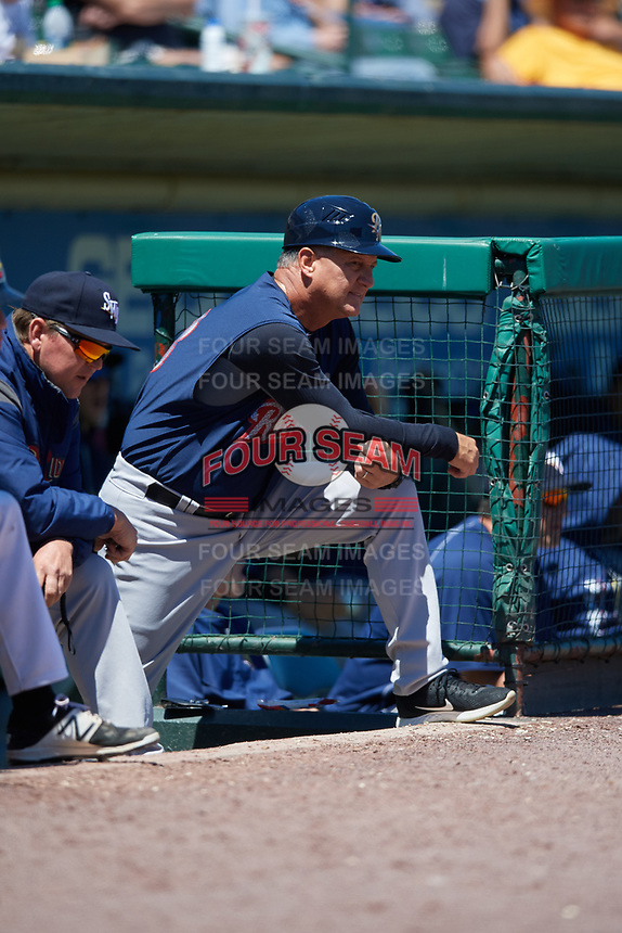 Scranton/Wilkes-Barre RailRiders manager Al Pedrique (13) during a game against the Rochester Red Wings on June 7, 2017 at Frontier Field in Rochester, New York.  Scranton defeated Rochester 5-1.  (Mike Janes/Four Seam Images)