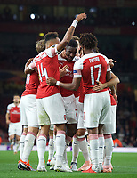 Teammates celebrate with goal scorer Danny Welbeck of Arsenal during the UEFA Europa League match group between Arsenal and Vorskla Poltava at the Emirates Stadium, London, England on 20 September 2018. Photo by Andrew Aleks / PRiME Media Images.