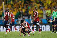 FORTALEZA - BRASIL -04-07-2014. Foto: Roberto Candia / Archivolatino<br /> James Rodriguez (#10) jugador de Colombia (COL) reacciona con desilución después de perder con Brasil (BRA) en partido de los cuartos de final por la Copa Mundial de la FIFA Brasil 2014 jugado en el estadio Castelao de Fortaleza./ James Rodriguez (#10) player of Colombia (COL) reacts with disappointment after losing with Brazil (BRA) in match of the Quarter Finals for the 2014 FIFA World Cup Brazil played at Castelao stadium in Fortaleza. Photo: Roberto Candia / Archivo Latino<br /> VizzorImage PROVIDES THE ACCESS TO THIS PHOTOGRAPH ONLY AS A PRESS AND EDITORIAL SERVICE IN COLOMBIA AND NOT IS THE OWNER OF COPYRIGHT; ANOTHER USE IS REPONSABILITY OF THE END USER. NO SALES, NO MERCHANDASING. ALL COPYRIGHT IS ARCHIVOLATINO