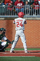 Dominic Fletcher (24) of the Arkansas Razorbacks at bat against the Charlotte 49ers at Hayes Stadium on March 21, 2018 in Charlotte, North Carolina.  The 49ers defeated the Razorbacks 6-3.  (Brian Westerholt/Four Seam Images)