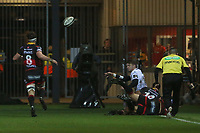 Dan Bigger of Ospreys throws the ball back for Cory Allen of Ospreys to collect to score his sides first try of the match during the Guinness Pro 14 match between Newport Gwent Dragons and Ospreys at the Rodney Parade in Newport, Wales, UK. Sunday 31 December 2017