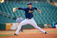 Montgomery Biscuits relief pitcher Kyle Bird (15) delivers a pitch during a game against the Biloxi Shuckers on May 8, 2018 at Montgomery Riverwalk Stadium in Montgomery, Alabama.  Montgomery defeated Biloxi 10-5.  (Mike Janes/Four Seam Images)